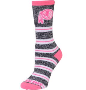 Women's Washington Redskins Melange Pink & Gray Striped Crew Socks