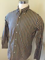 Polo Ralph Lauren Medium Button Green Yellow Stripe Men's L/S Shirt Custom Fit