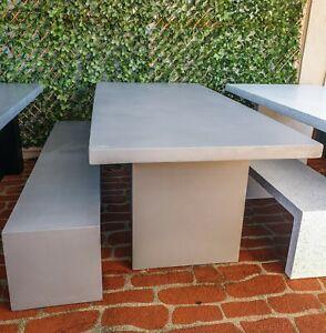 2.1m Concrete Outdoor Garden Patio Harvey Rectangle Table Bench Grey Terrazzo