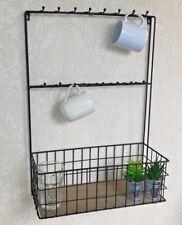 Wire Wall Shelf Glasses Holder Unit Industrial Style Storage Basket Rack Hooks