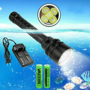 Underwater 100m Scuba Torch 20000Lm 5x XM-L T6 LED Diving Flashlight Light Lamp