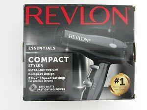 REVLON Essentials Compact Styler Hair Dryer 1875 watts 2 Heat/Speed Settings New