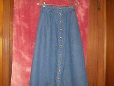 Cabin Creek women's side elastic button down blue jeans skirt size 8
