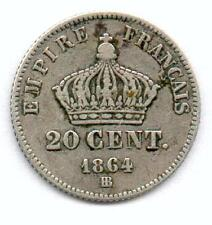 A SAISIR 20 CENTIMES NAPOLEON III ARGENT 1864 BB ! TOP