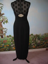 Liz Claiborne Night Black Sleeveless Long Lace Back Evening Dress Size 6