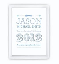 Personalised Childrens Baby Name Picture Print boys girls LARGE READY TO FRAME