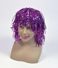 Purple Tinsel Wig Hen Party Weekend 80S Disco Halloween Fancy Dress