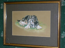 More details for large antique tibetan terrier dog pastel painting signed and dated, framed