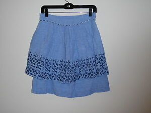 ODILLE ANTHROPOLOGIE BLUE  PLEATED TIERED LINEN BLEND KNEE LENGTH SKIRT 2 4 6