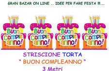 FESTONE STRISCIONE TORTA BUON COMPLEANNO in CARTA PATINATA 2 mt. FESTA PARTY