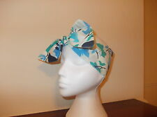 LADIES TIE HEADWRAP/ HEADBAND/ BANDANA NEW (CREAM/BLUE BUTTERFLY) 100% COTTON