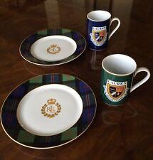 RALPH LAUREN KNOCKHILL TARTAN Dishes 2 Plates 2 Mug Set Green Blue NEW NICE!