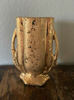 Vintage 1940s McCoy Weeping 24k Gold Handled Art Pottery Vase - 5 3/4""