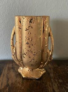 """Vintage 1940s McCoy Weeping 24k Gold Handled Art Pottery Vase - 5 3/4"""""""