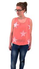 Damen Italy Bluse Top Shirt Sterne ärmellos Tunika hummer lachs rosa 38 40 42
