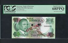 Botswana 10 Pula ND 1982 P9s2  Specimen TDLR  Uncirculated Graded 68