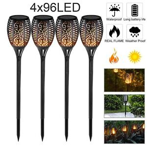 4 Stk 96LED Flackernde Landschaft Tanzen Flamme Solar Fackel Lampen Garten Licht