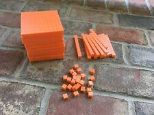 50 Piece Set Math Materials Orange Plastic Base Ten Blocks, Place Value Set