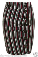 New Button Pencil Skirt Womens Tube Skirts Stripe Ladies Fitted Size 8 10 12 14