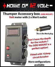Thumper Accessory SIDE ENTRY Box Volt meter 2 x Merit socket Surface mount 12V
