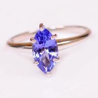 Natürliche Blaue Tansanit 1,40Ct Marquise Form 585er Weißgold Verlobungs Rng