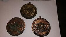 """New listing Swimming 2 1/2"""" diameter Medals, 1 is Solid Brass, 2 are Solid copper; Fast S&H"""