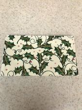 Soft Fabric Checkbook - Fully Lined - Holiday Holly with Berries - One of a Kind