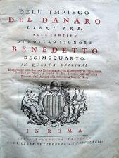 1745 – MAFFEI, DELL'IMPIEGO DEL DANARO LIBRI TRE – ECONOMIA FINANZA USURA PAPATO