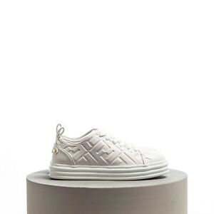 FENDI 850$ Rise Flatform Sneakers In White Leather All-Over Embossed FF Motif