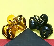 Black/Tortoise Brown Medium Hair Jaw Clip Claw Clamp 3 1/4 inches 2 Pack New