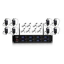 8-Channel Wireless Microphone & Receiver System 8 Belt-Packs, Headsets, Lavalier