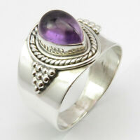 Sterling Silver Natural AMETHYST Ring # 9.5 5.9 Grams Nouveau Handmade Jewelry