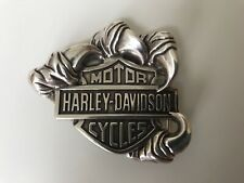 Harley-Davidson mens Talon  B@S belt buckle.#97611-09VM.Polished Silver plaited.