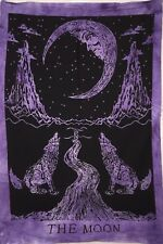Purple Color Traditional Moon The Wolf Design Small Tapestry Poster Wall Hanging