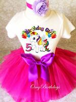 Rainbow Unicorn Birthday Outfit Pink 1st 2 3 4 5 6 7th Girl Tutu Headband Shirt