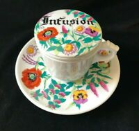 Vintage Tea Cup with Infuser Lid and Saucer Floral Design