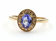 Damen AA Tansanit Diamant Ring 9 Karat 375 Gold 57 - 18,0 mm 0,91 ct.