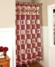 Country Primitive Hearts & Stars Berries Bathroom Fabric Shower Curtain  NEW