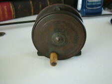 """Vintage 2 3/4"""" Ebonite and Brass Plate Wind Trout Fly Reel."""