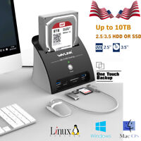 "2.5"" 3.5"" USB3.0 to SATA Hard Drive HDD SSD 10TB Docking Station Drive Enclosure"