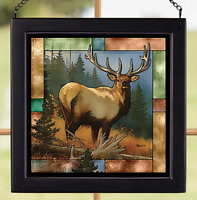 Royal Mist-Elk Stained Glass Art by Rosemary Millette Wild Wings