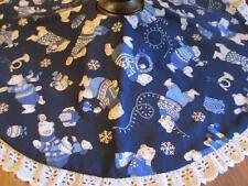Christmas Polar Bear Snowman Table Top Tree Skirt Lamp Skirt Topper White Lace