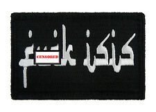 F**k Isis Arabic Style Black and White Hook & Loop Embroidered Morale Tags