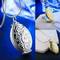 Silber Blume Blatt Medaillon offene runde Foto Anhänger Halskette Damen O6O T3P3