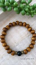 Wood Onyx Unisex Gemstone Beaded Bracelet Stretch Handmade Men's Womens