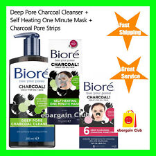 Biore Deep Pore Charcoal Cleanser + Self Heating One Minute Mask + Pore Strips