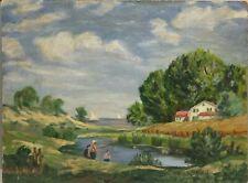 Vintage Fishing Sailboat Farm Landscape on Masonite Signed Mabel M. Lear(?) 1949