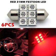 6pcs Red LED Bulbs 31mm Festoon Interior Map Dome Light Lamps DE3175