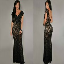 Sz 8 10 Cap Sleeve Black Lace V-neck Sexy Formal Cocktail Party Gown Long Dress
