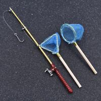 Mini Dollhouse Miniature Fishing Rod Fishing Pole Net Doll House Decor Gift